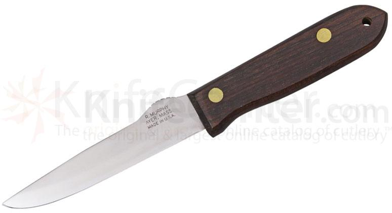R. Murphy Large Sportsman Knife 5-1/4 inch Carbon Blade, Rosewood Handle, Notched Thumb Guard