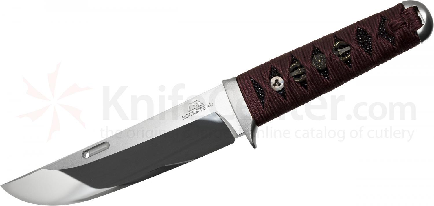 Rockstead UN-ZDP Japanese Fixed 5.5 inch ZDP-189/VG10 Clad Mirror Finish Blade, Burgundy Azuki Silk Wrapped Handle