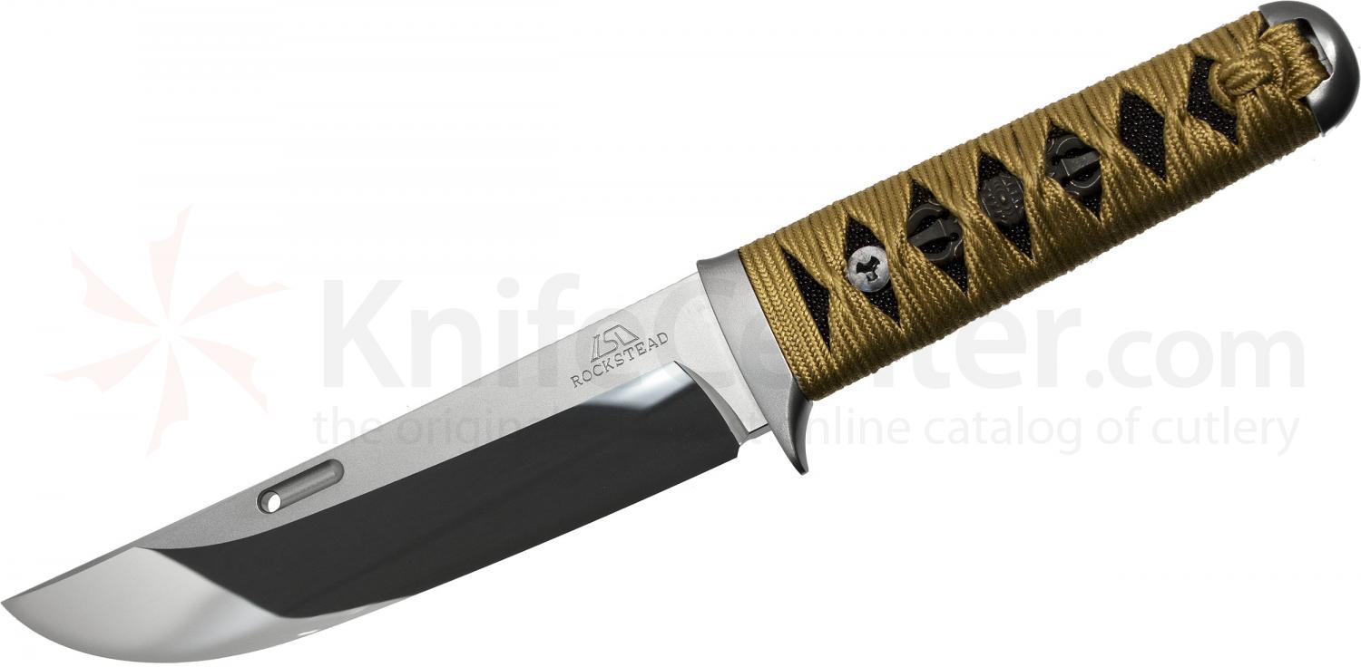 Rockstead UN-ZDP Japanese Fixed 5.5 inch ZDP-189/VG10 Clad Mirror Finish Blade, Gold Kincya Silk Wrapped Handle