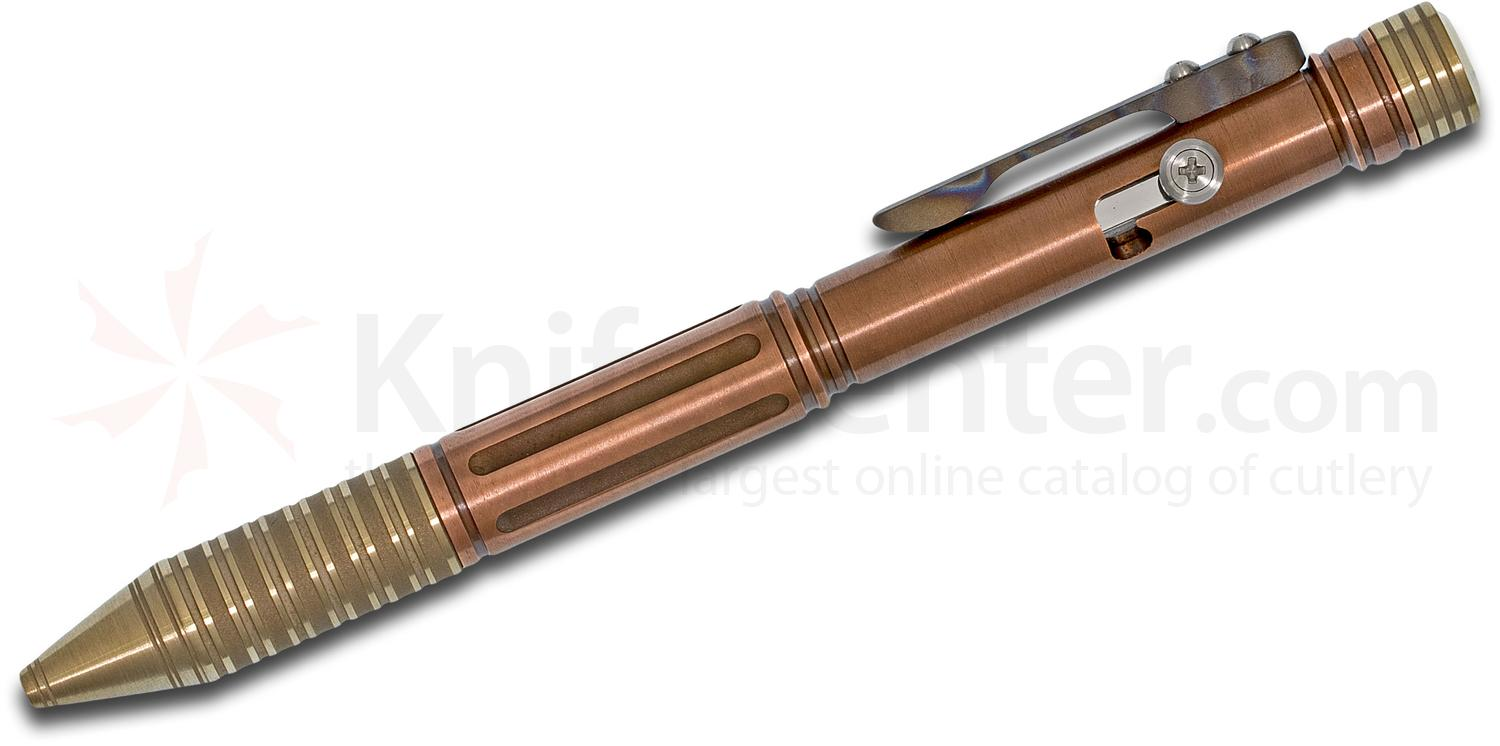 Sergey Rogovets Custom Brass, Copper and Flamed Titanium Pen, 5.75 inch Overall