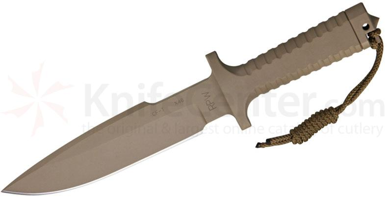 Robson RPW Knives Model X-46 Utility Survival Fixed 7 inch Blade, One-Piece Design, Tan Finish