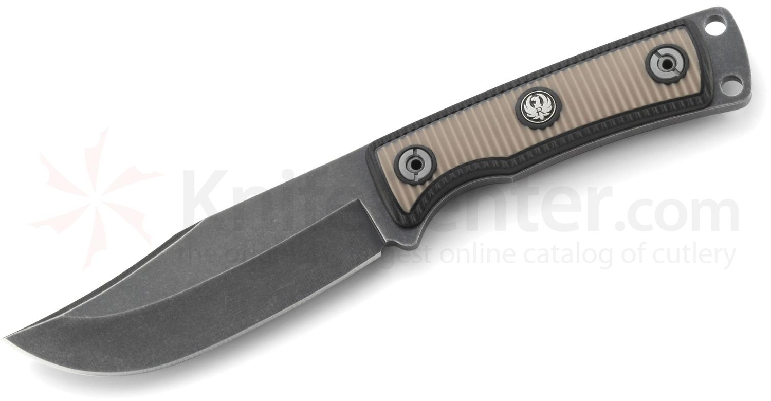 Ruger Powder-Keg Fixed 4.6 inch Black Stonewashed Clip Point Blade, Tan and Black Rubberized Handles, Leather Sheath