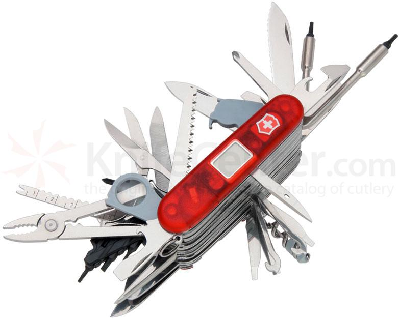 Victorinox Swiss Army SwissChamp XAVT Multi-Tool, Translucent Ruby, 3.58 inch Closed, Gift Box