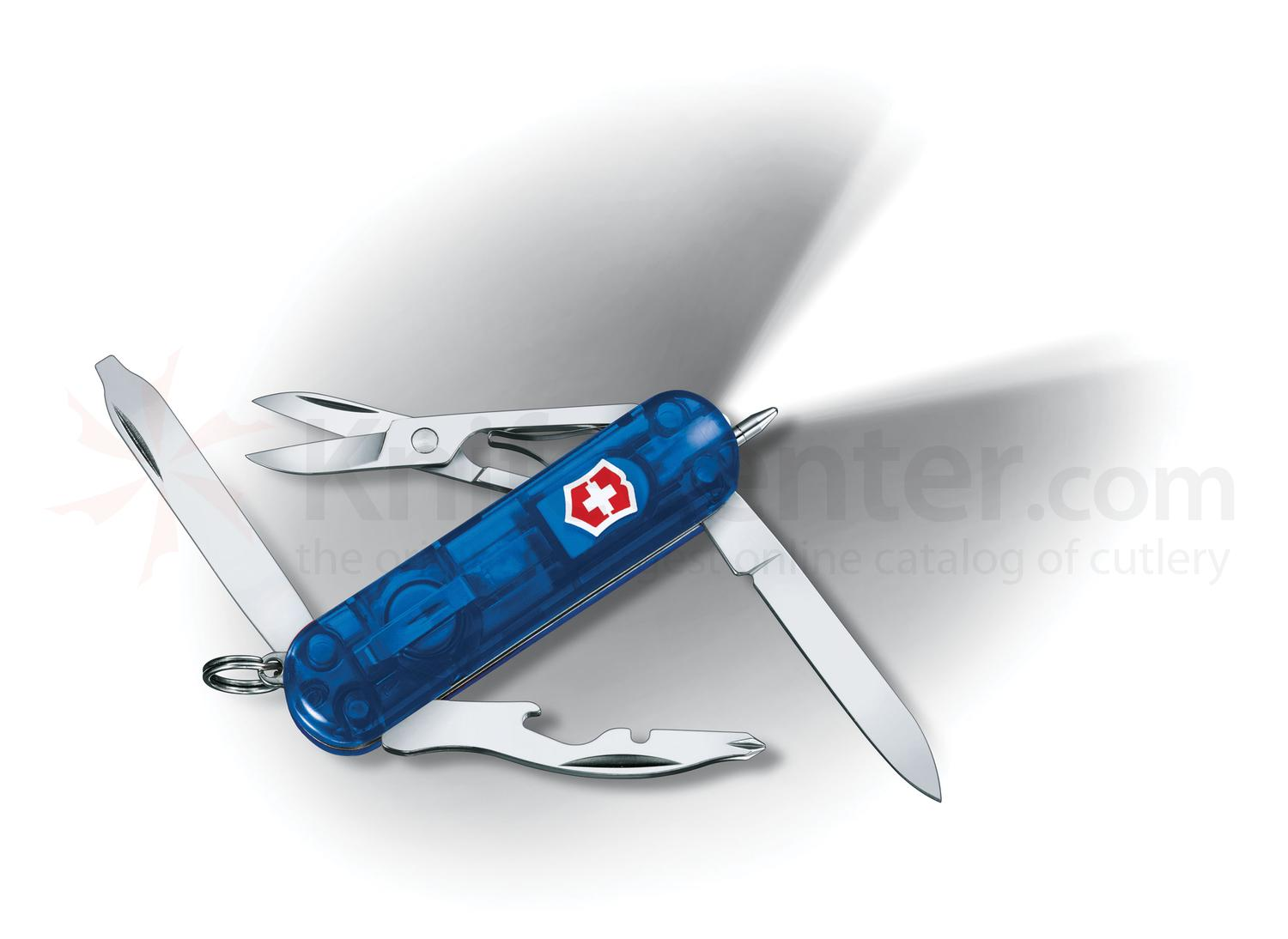 Victorinox Swiss Army Midnite Manager Multi-Tool with LED, Transparent Blue, 2.28 inch Closed