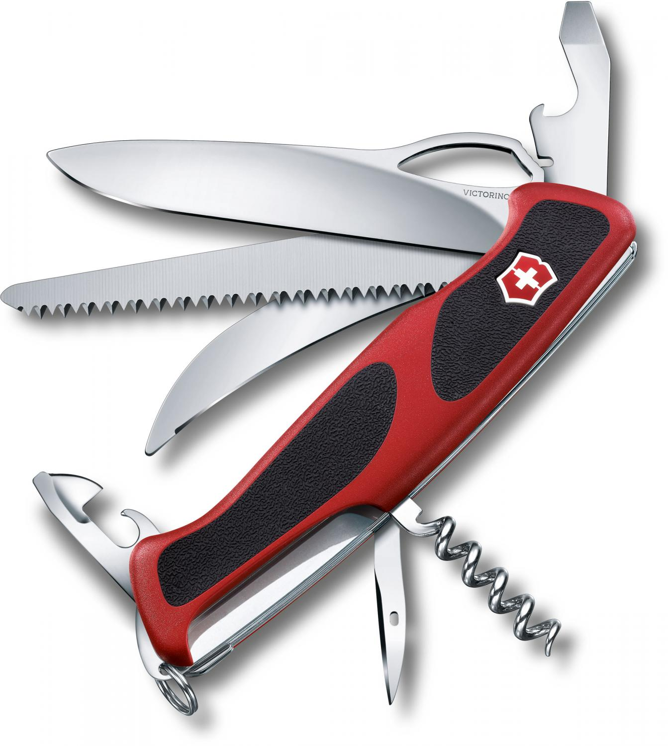 Victorinox Swiss Army RangerGrip 57 Hunter Multi-Tool 5-1/8 inch Red and Black Handles (0.9583.MCUS2)