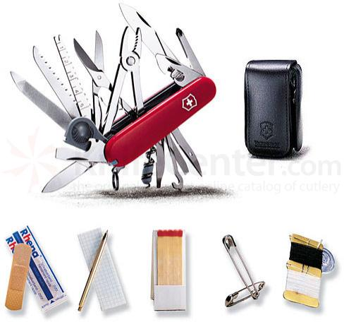Victorinox Swiss Army SwissChamp SOS Multi-Tool Set, 3-1/4 inch Red Handles