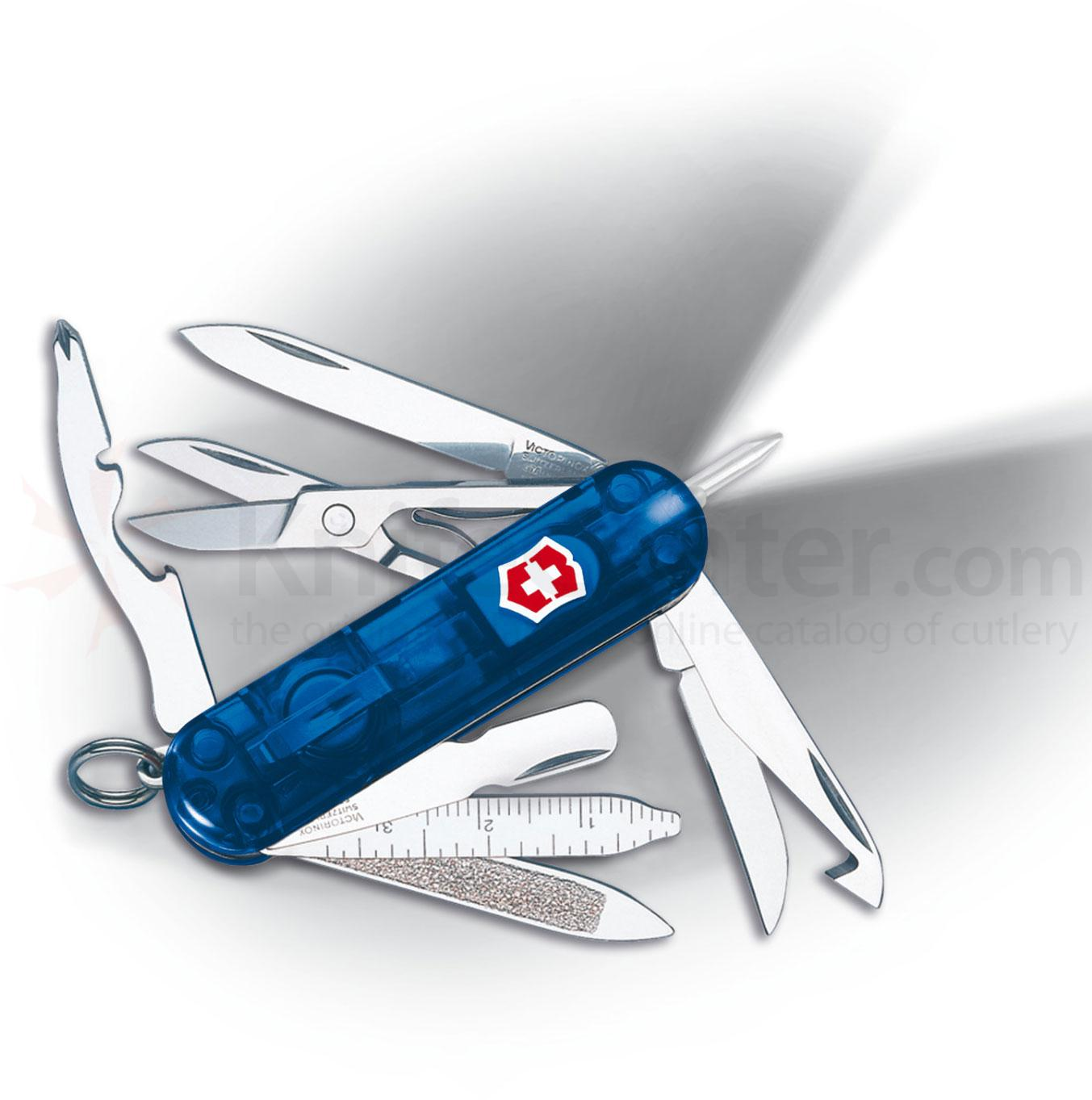 Victorinox Swiss Army Midnite Minichamp with LED, 2-1/4 inch Translucent Sapphire Handles
