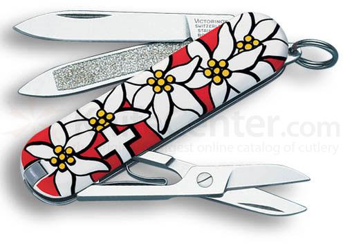 Victorinox Swiss Army Classic SD Multi-Tool, Red Edelweiss, 2-1/4 inch Closed