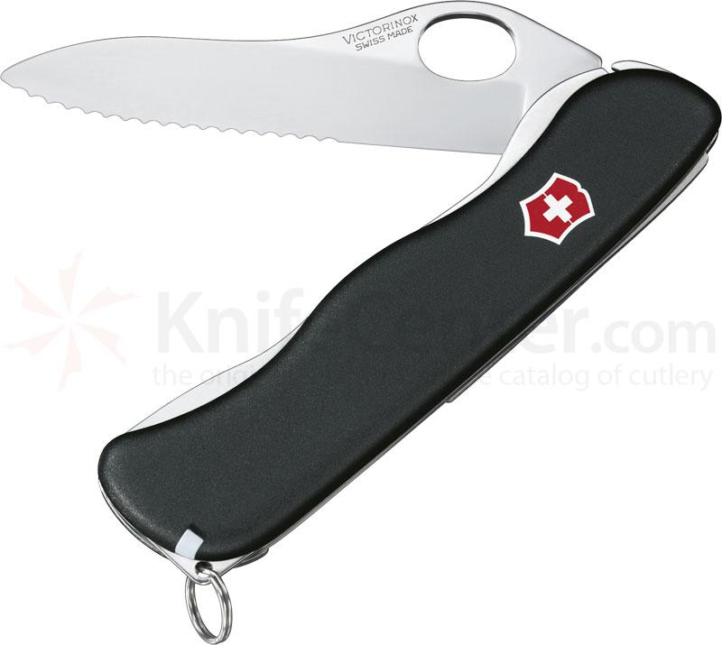 Victorinox Swiss Army One-Hand Sentinel with Clip, Serrated Edge, 4-3/8 inch Handle