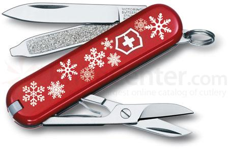 Victorinox Swiss Army Classic SD Multi-Tool, 2-1/4 inch Red Snowflake Handles