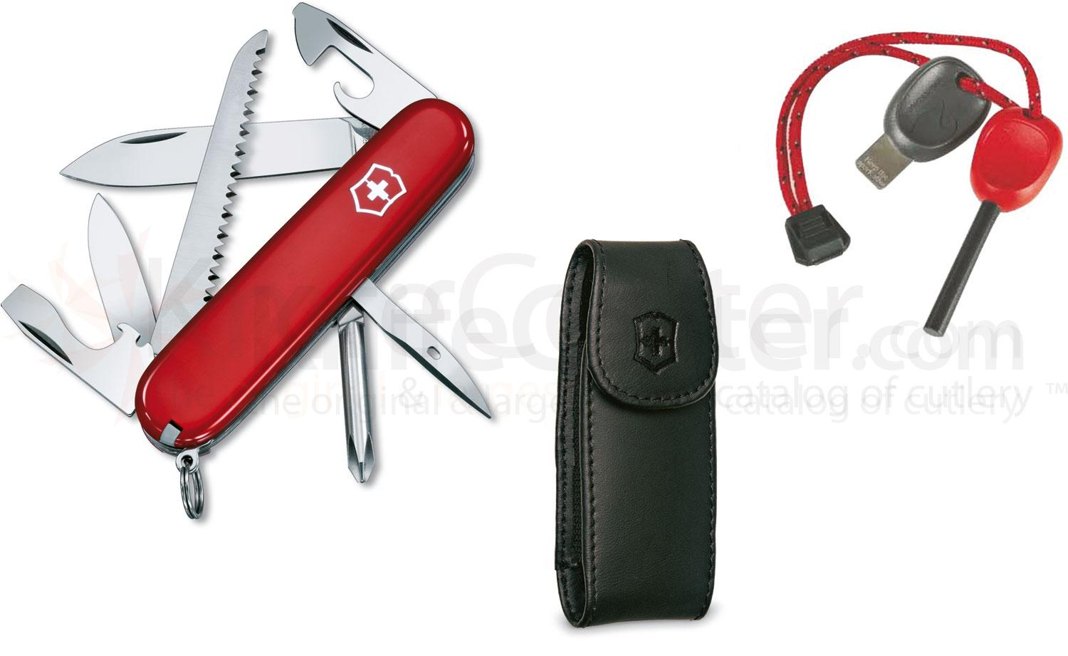 Victorinox Swiss Army 57608 Hiker Multi-Tool / Firestarter Combo, 3-1/2 inch Red Handles, Leather Sheath