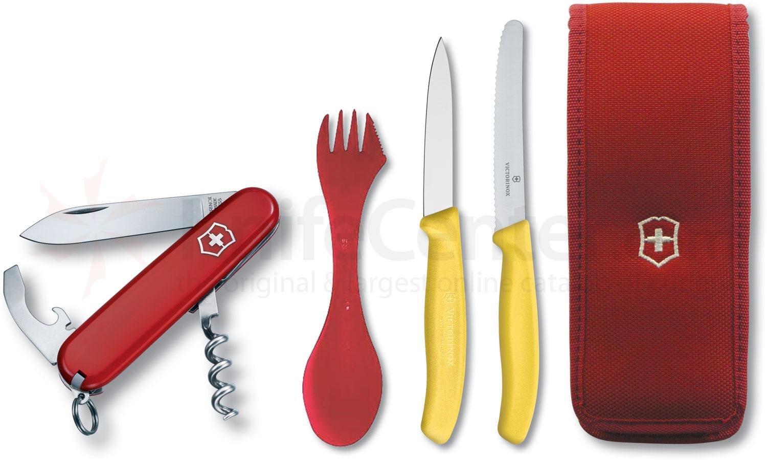 Victorinox Swiss Army Waiter Multi-Tool Camping Set, Spork, Paring and Utility Knives (57609)