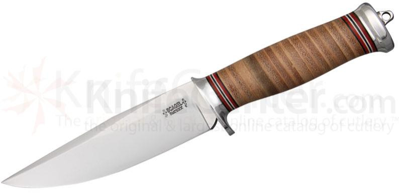 Scagel Knives Medium Bowie Fixed 5-3/8 inch A-2 Blade, Brown Leather Stacked Handle