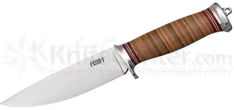 Scagel Knives Medium Hunter Fixed 5-3/8 inch A-2 Blade, Brown Leather Stacked Handle