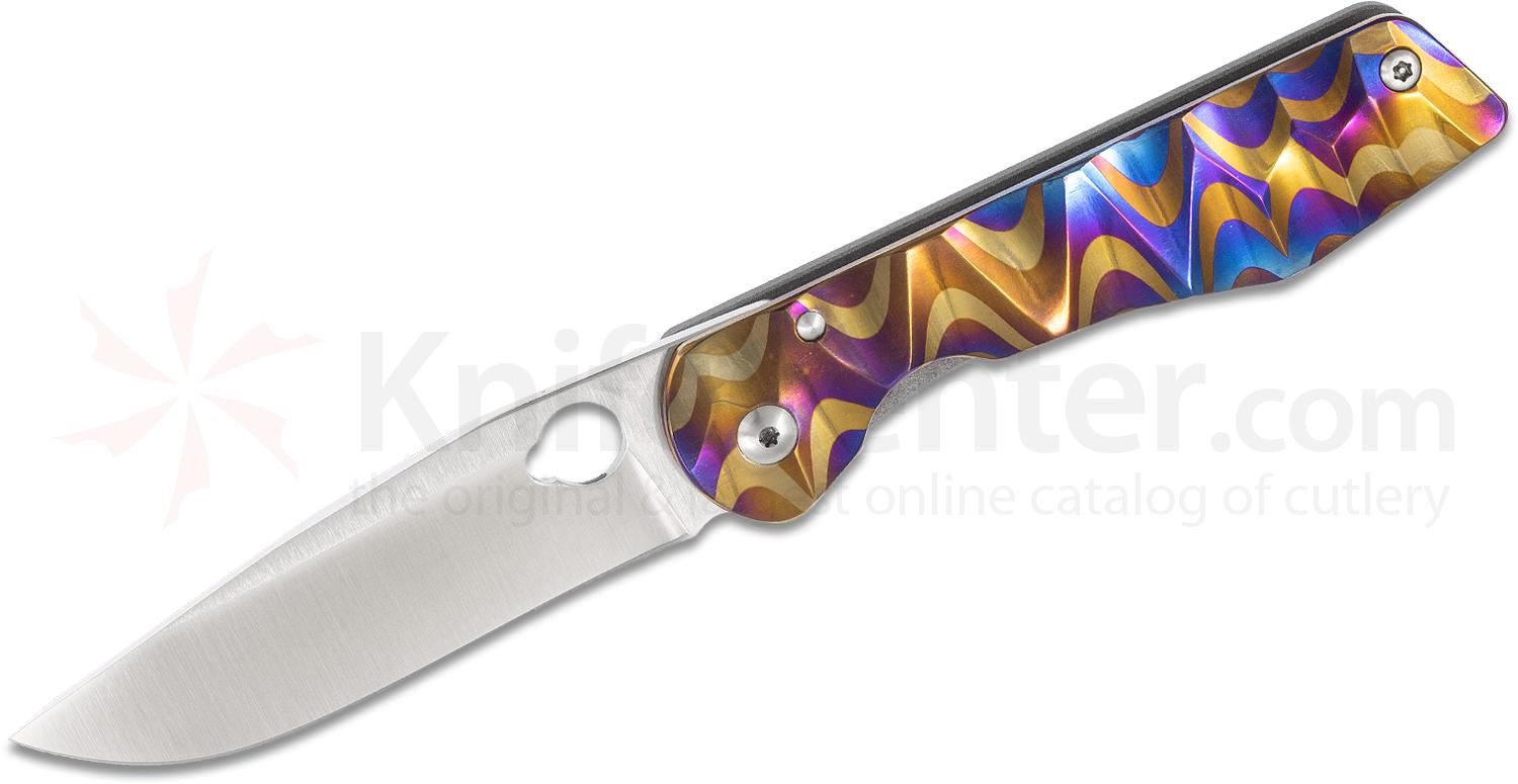 Schanz Handmade Knives Custom DPPK2 Folder 3.7 inch Niolox Plain Blade, Rainbow Titanium Handle