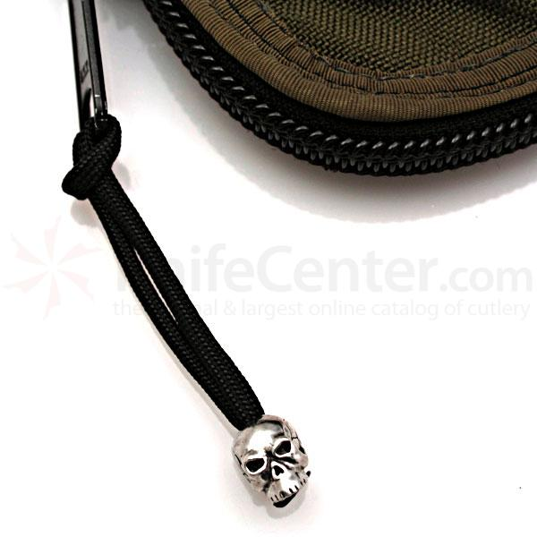 Schmuckatelli Pewter Classic Skull Zipper Pull, Black