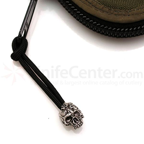 Schmuckatelli Pewter Mind Skull Zipper Pull, Black