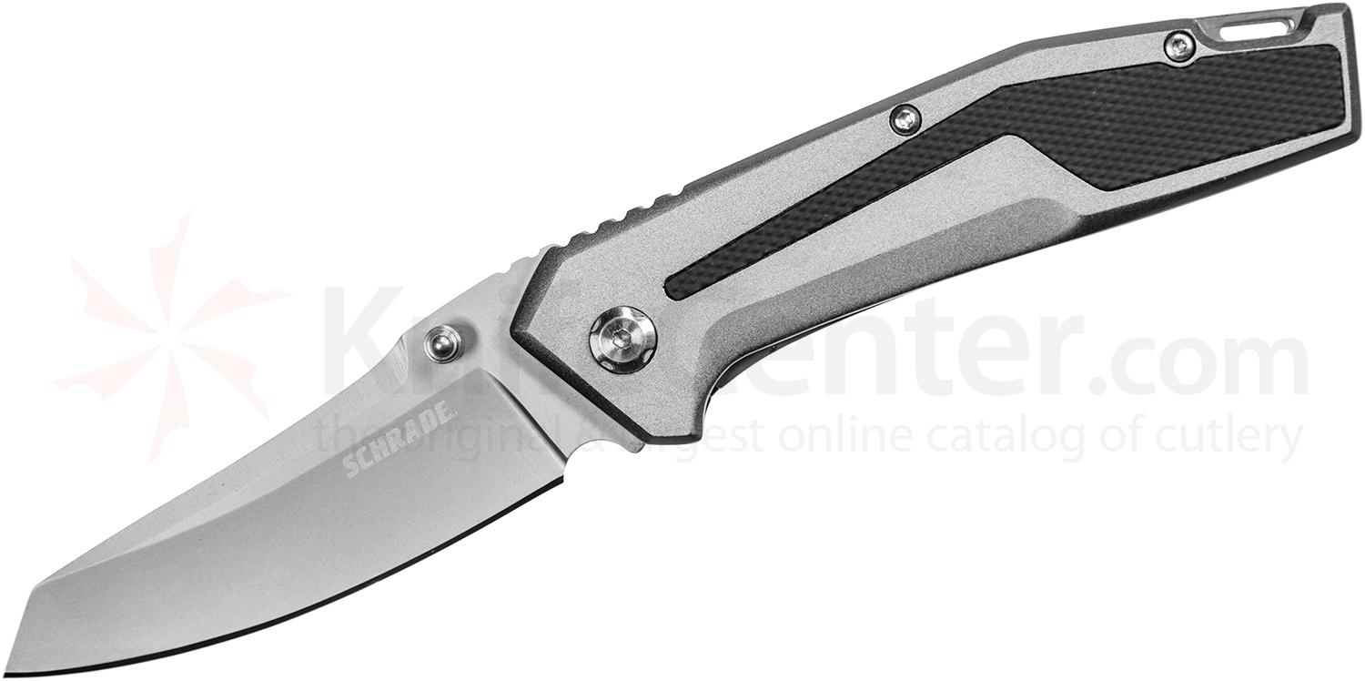 Schrade SCH705 Folding Knife 3.25 inch Bead Blast Plain Blade, Aluminum Handles with Black Rubber Inlays