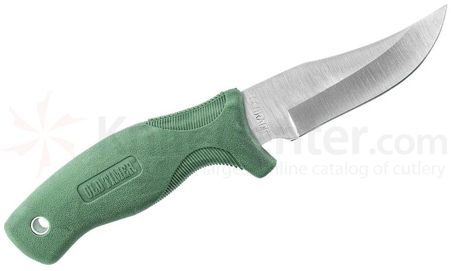 Schrade Old Timer Guide-Master 4 inch Satin Clip Point Blade, Green Rubber Handle, Leather Sheath