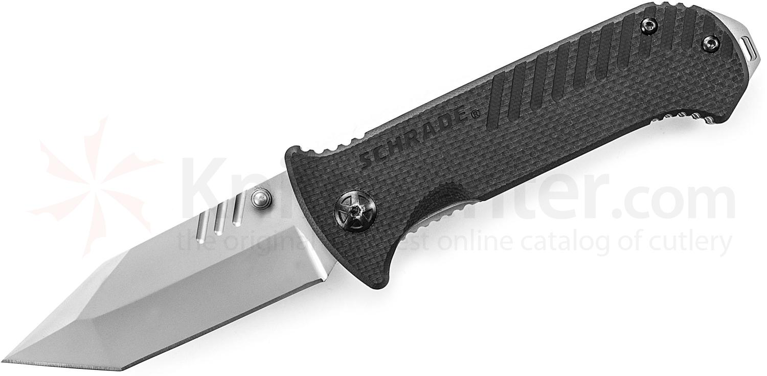 Schrade Tactical Folding 3.2 inch 9Cr14MoV Plain Tanto Blade, Black G10 Handles