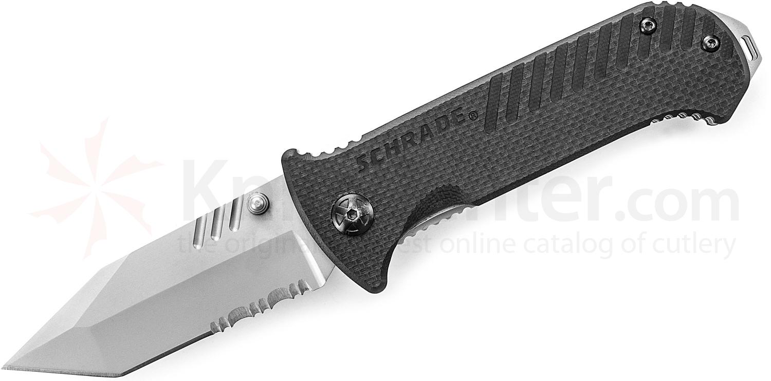 Schrade Tactical Folding 3.2 inch 9Cr14MoV Tanto Combo Blade, Black G10 Handles