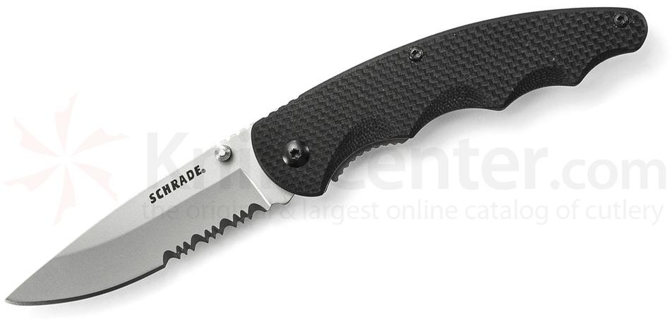Schrade Utility Liner Lock Folding 3.0 inch 9Cr14MoV Combo Blade, Black G10 Handles