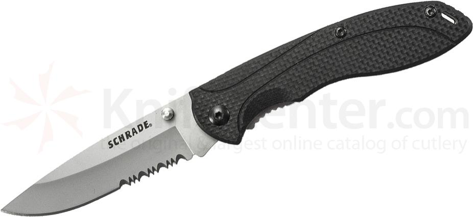 Schrade Utility Liner Lock Folding 2.9 inch 9Cr14MoV Combo Blade, Black G10 Handles