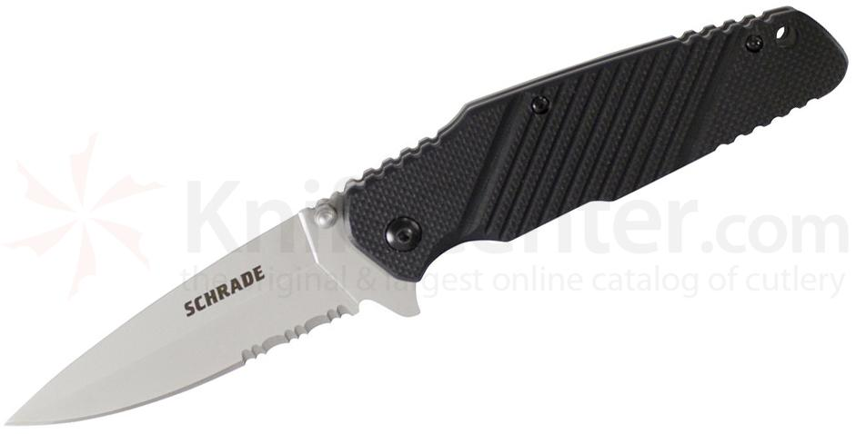 Schrade Tactical Utility Folding 3.5 inch 9Cr18MoV Spear Point Combo Blade, Black G10 Handles