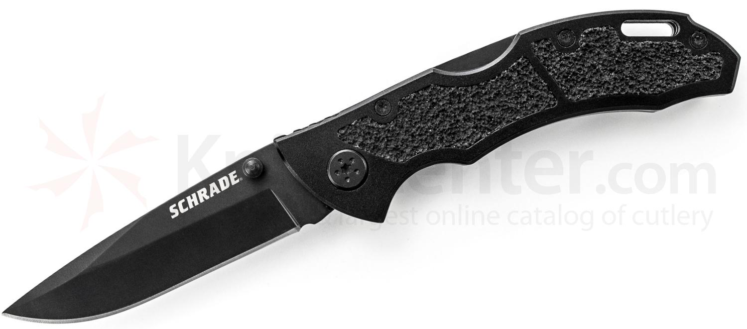 Schrade Utility Folding 3.1 inch 9Cr14MoV Plain Drop Point Blade, Black Aluminum Handles
