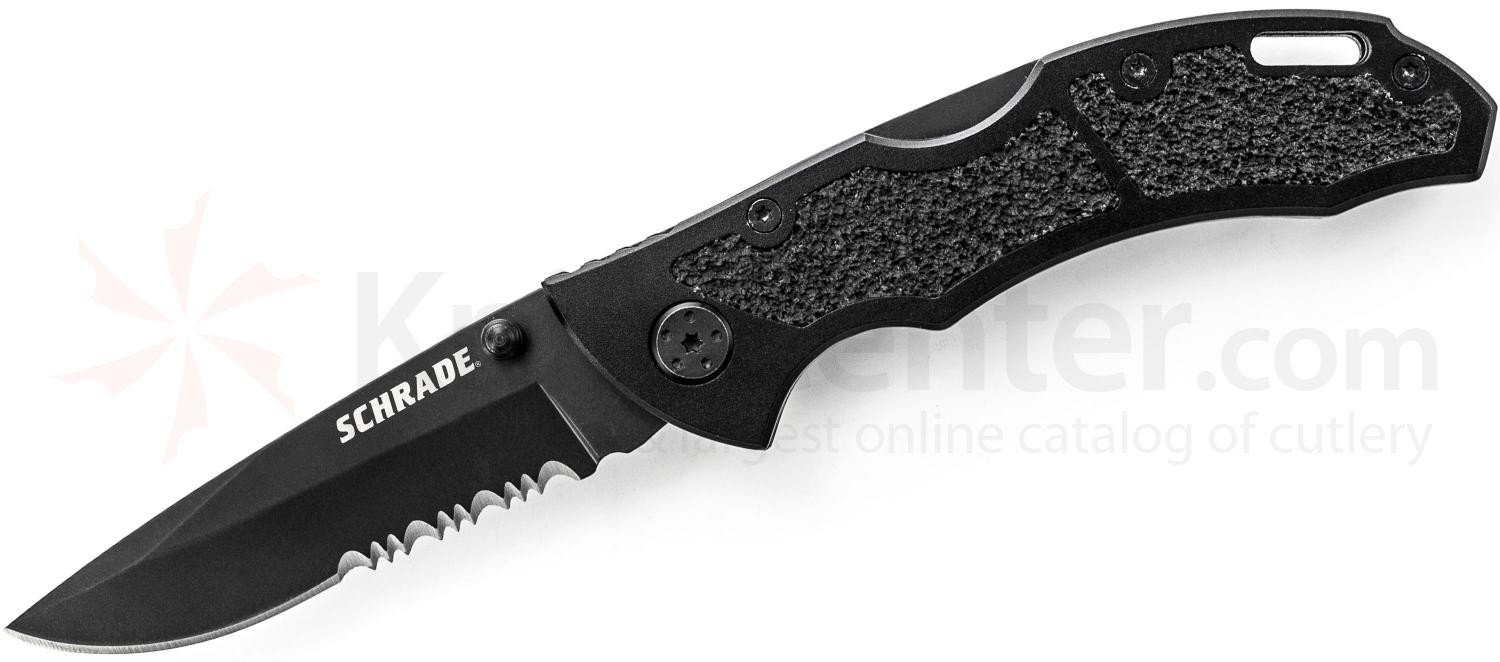 Schrade Utility Folding 3.1 inch 9Cr14MoV Drop Point Combo Blade, Black Aluminum Handles