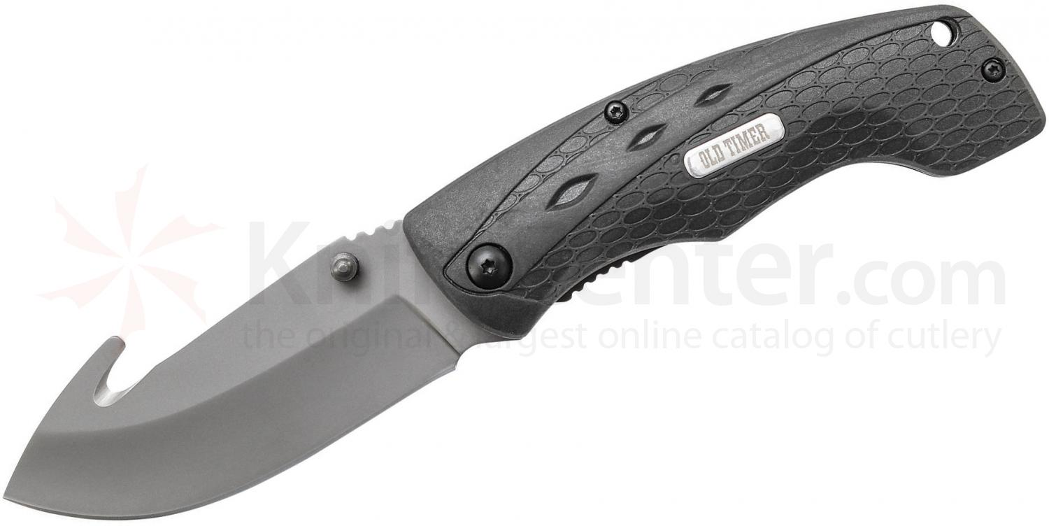 Schrade 2148OT Old Timer Copperhead Guthook Folding 3.42 inch Drop Point Blade, Rubber Handles