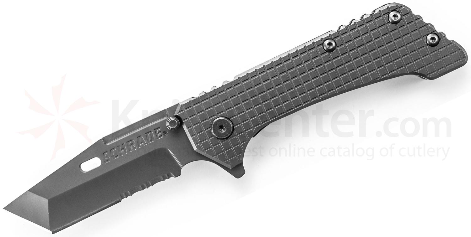 Schrade SCH302S Frame Lock Folding 3.7 inch Tanto Combo Blade, Textured Stainless Steel Handles