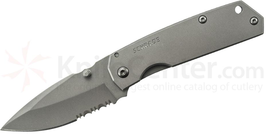 Schrade SCH303MS Mini Frame Lock Folding 2.6 inch Drop Point Combo Blade, Stainless Steel Handles