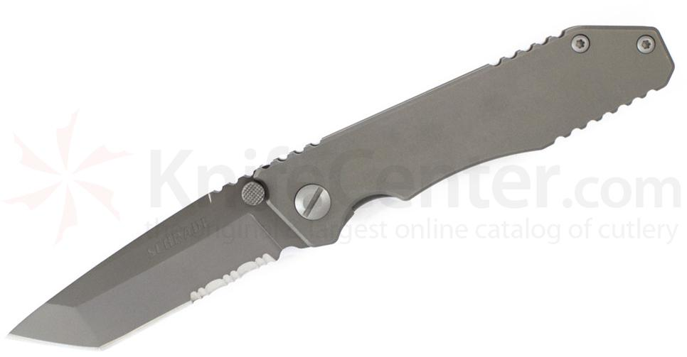 Schrade SCH307S Frame Lock Folding 3.4 inch Tanto Combo Blade, Slim Stainless Steel Handles