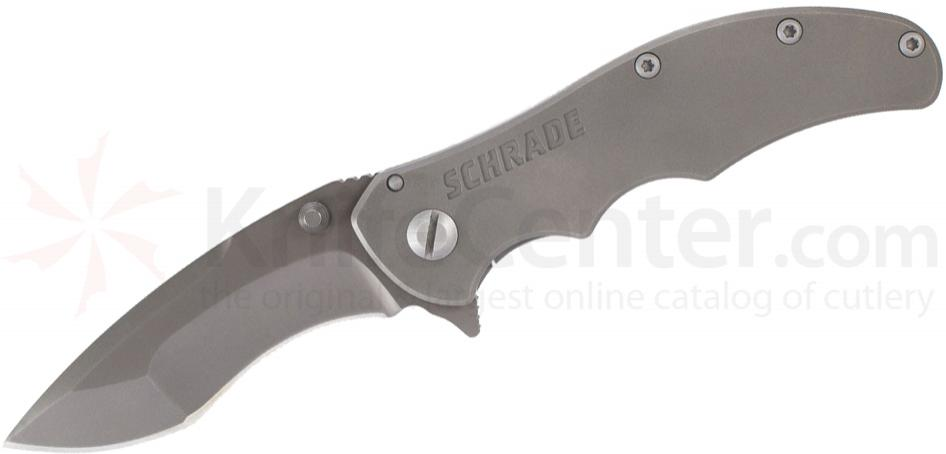 Schrade SCH600Ti Tactical Folding 3.4 inch Recurve D2 Blade, Smooth Titanium Handle