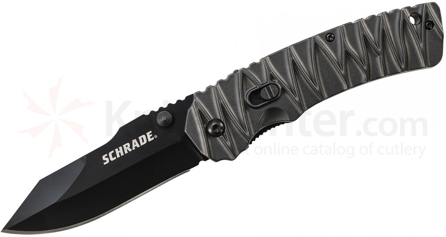 Schrade SCHA10B MAGIC Dual Action Assisted Flipper Knife 3.47  inch Black Drop Point Plain Blade, Milled Aluminum Handles