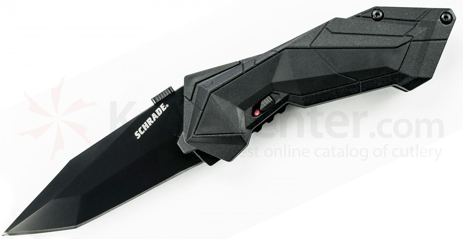 Schrade A3B Assisted Opening 2.9 inch Plain Black Tanto Blade, Black Aluminum Handle