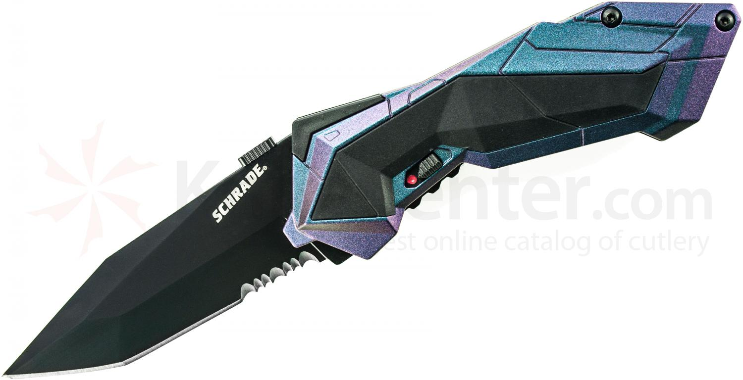 Schrade A3CBS Assisted Opening 2.9 inch Black Tanto Combo Blade, Chameleon Aluminum Handle