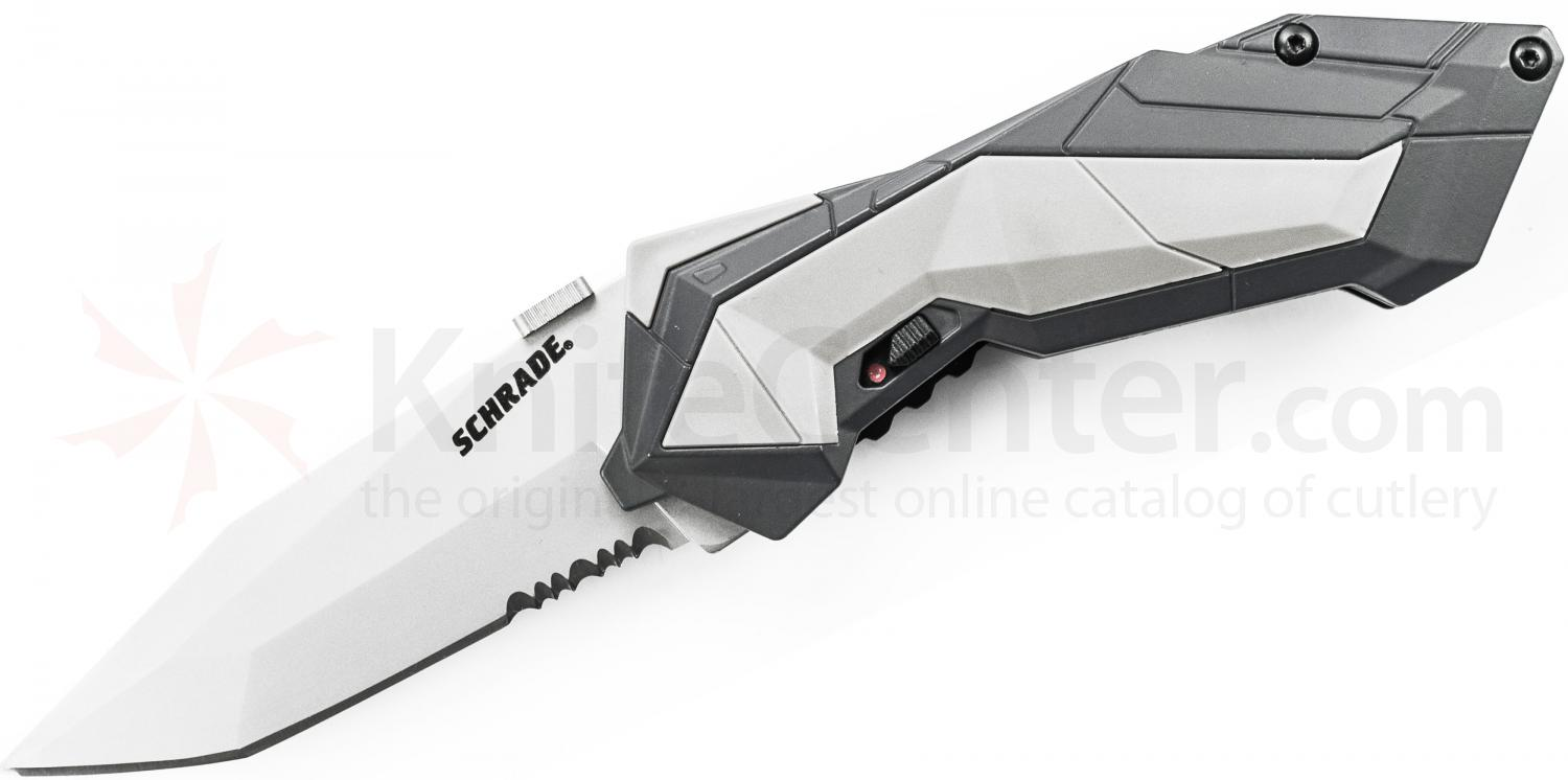 Schrade A3S Assisted Opening 2.9 inch Satin Tanto Combo Blade, Grey Aluminum Handle