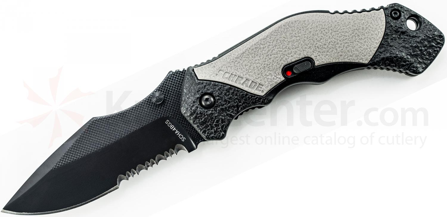 Schrade A4BGS Assisted Opening 3.3 inch Black Clip Point Combo Blade, Gray Aluminum Handle