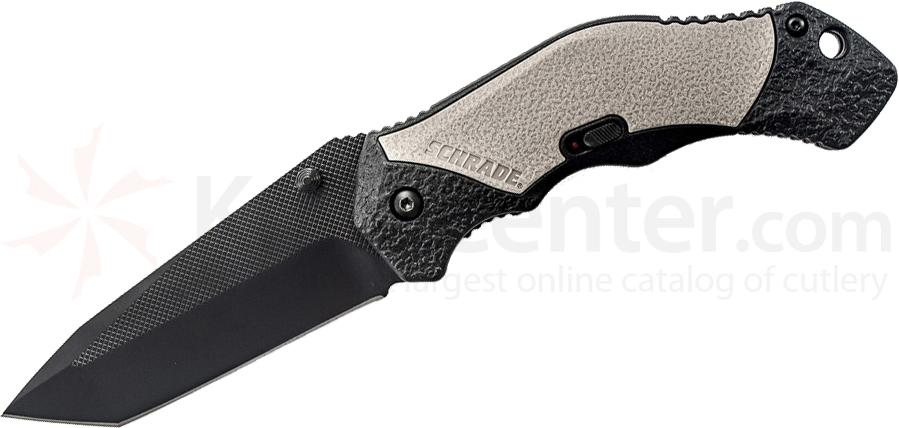 Schrade A4BGT Assisted Opening 3.3 inch Plain Black Tanto Blade, Gray Aluminum Handle