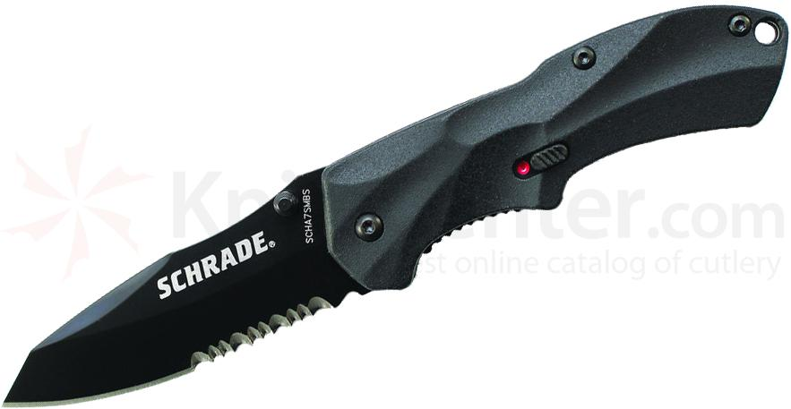 Schrade A7SMBS Small Assisted Opening 2.6 inch Black Sheepsfoot Combo Blade, Black Aluminum Handle