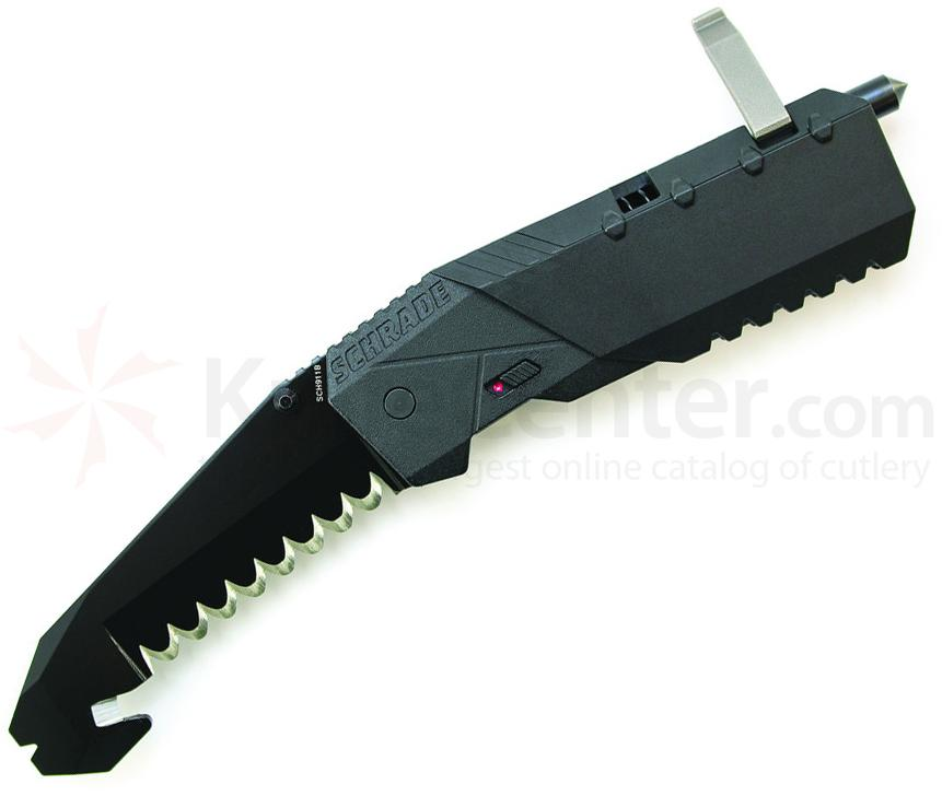 Schrade Professionals 1st Response 3.8 inch Assisted Blunt Tip Blade Rescue Knife, Black Aluminum Handle