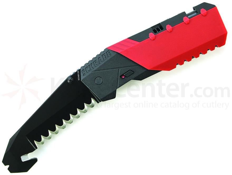 Schrade Professionals 1st Response 3.8 inch Assisted Blunt Tip Blade Rescue Knife, Red Aluminum Handle