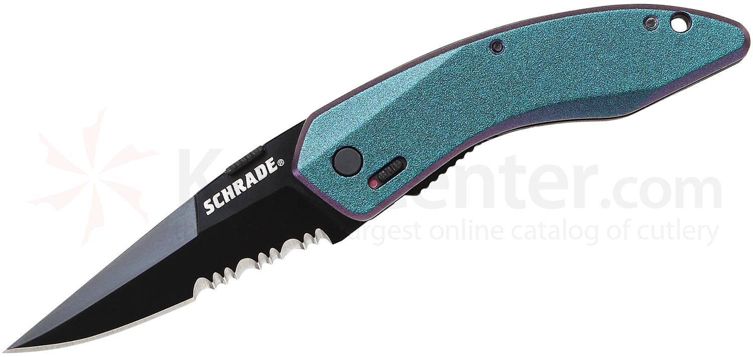Schrade SCHA9MCS Mini Landshark ColorShift MAGIC Assisted Opening ...