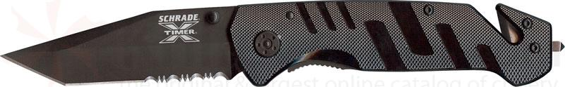 Schrade X-Timer 1st Response 3 inch Black Tanto Combo Edge Rescue Knife