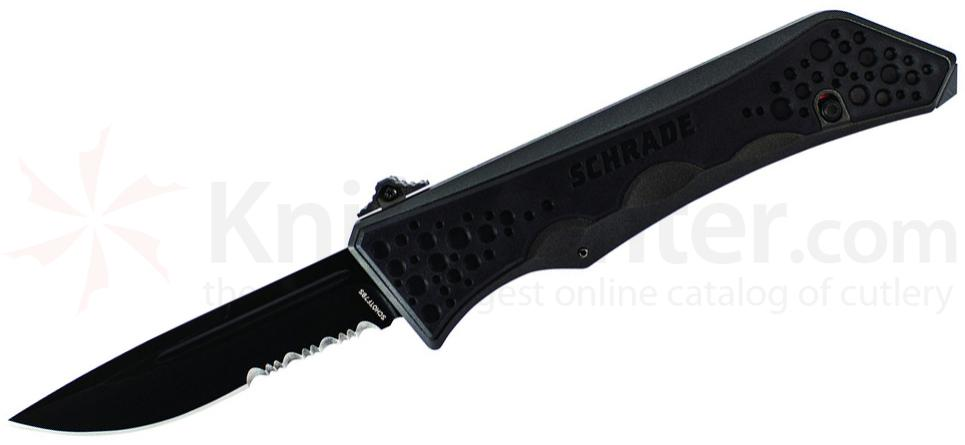 Schrade Extreme Survival 5th Gen OTF Assisted 3.6 inch Black Drop Point Combo Blade, Aluminum Handle