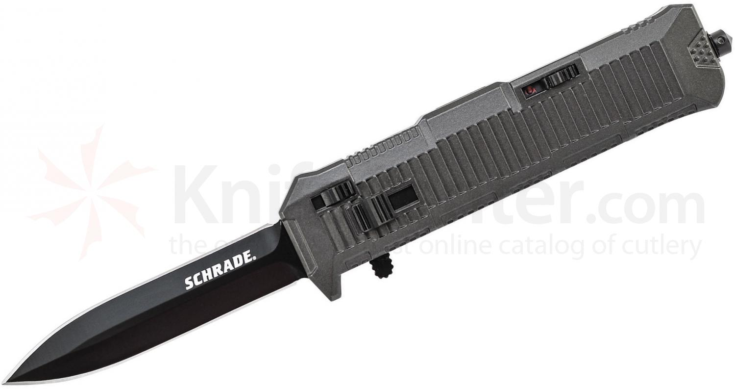 Schrade Extreme Survival Viper OTF Assisted 3.35 inch Black  Double Edge Spear Point Blade, Aluminum Handle