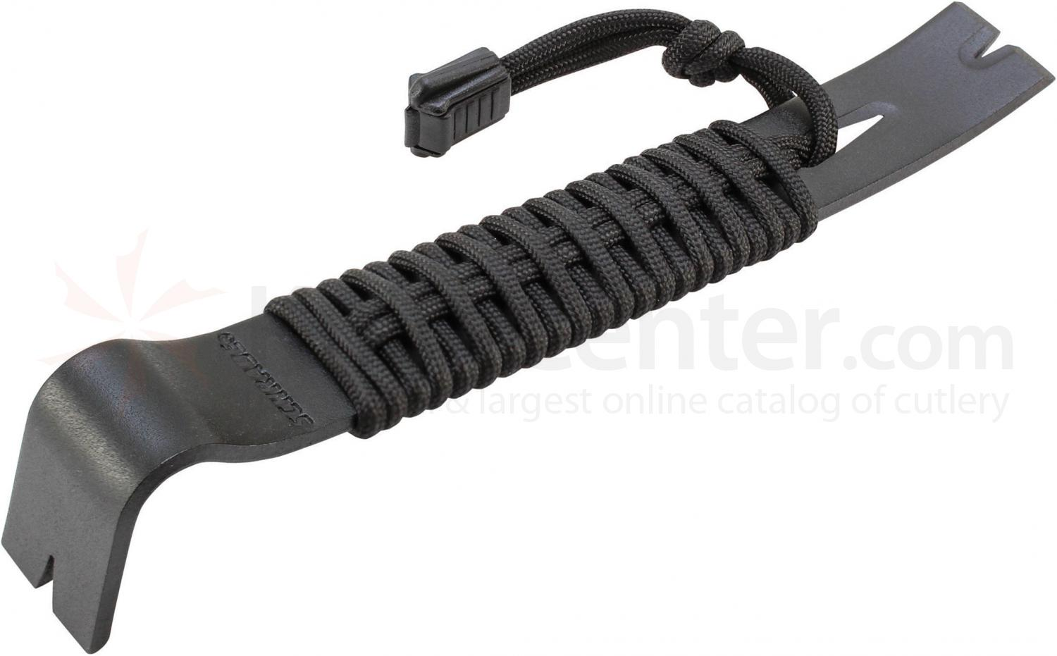 Schrade SCHPB1BK Pry Bar, Black Powder Coated SK5 Steel, 7.5 inch Overall, Paracord Handle