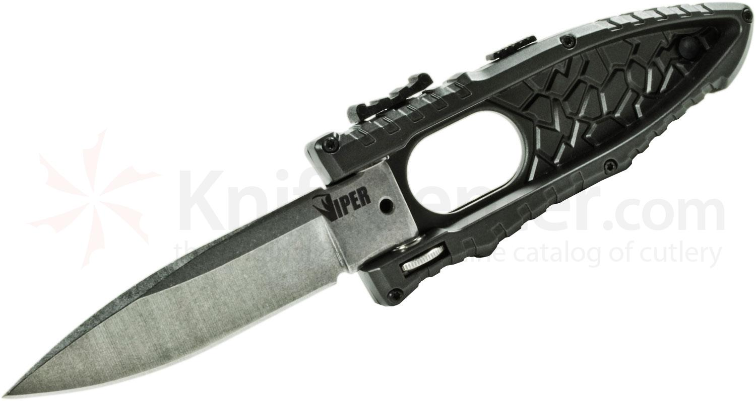Schrade Extreme Survival Viper Side Opening Assist 3.2 inch Plain Satin Drop Point Blade, Black Aluminum Handle